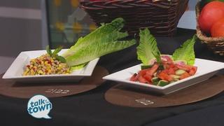 Black Eyed Pea Succotash & Tomato Cucumber Salad