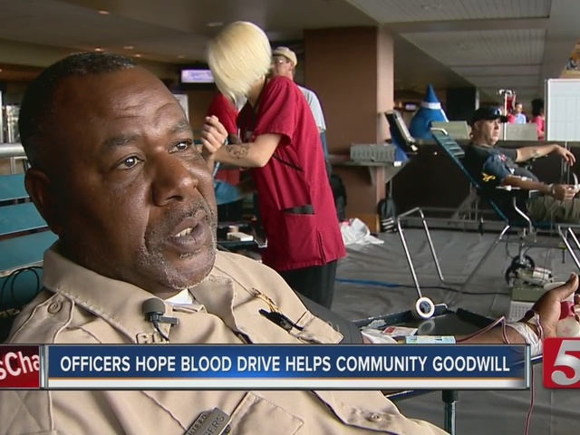 Officers Hope Blood Drive Helps Foster Goodwill