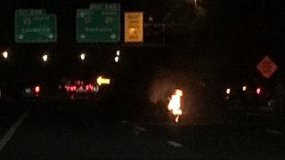 Crash, Vehicle Fire Closes I-24 East