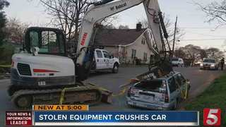 Thief Smashes Car With Stolen Excavator