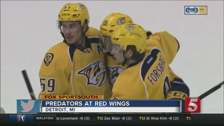Nyquist Leads Red Wings Past Predators, 5-3