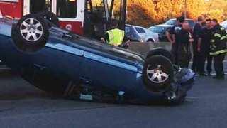 Crash With Overturned Vehicle Shuts Down I-40