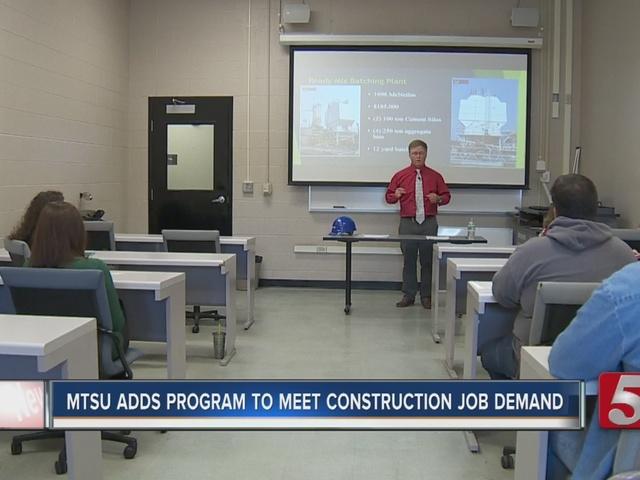 MTSU Adds Program To Address Construction Job Demand