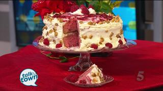 Raspberry Walnut Cake with White Chocolate Icing
