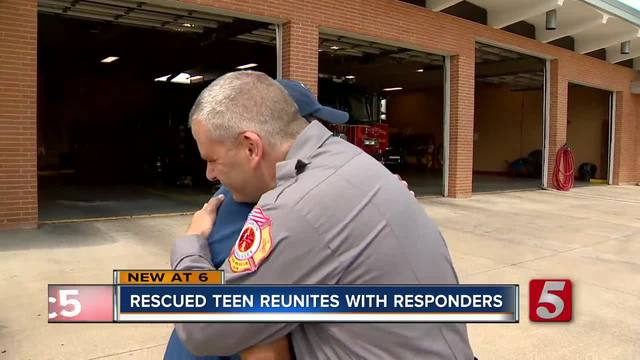Teen Pulled From Flash Floods Reunites- Thanks First Responders