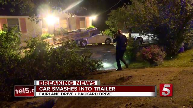 SUV Crashes Into Parked Trailer In Nashville Yard
