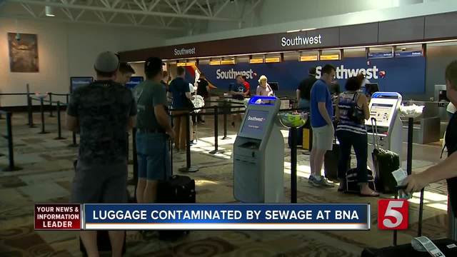 What's that smell? Sewer water sprays onto luggage at airport