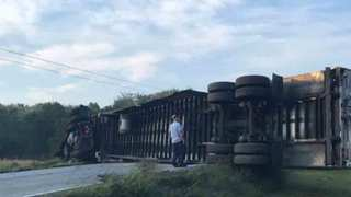 Overturned Semi Blocks Highway 231 In Lebanon