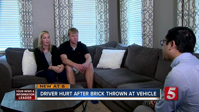 Driver Hurt When Brick Thrown Through Windshield