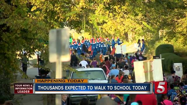 Area students participating in International Walk to School Day on October 4