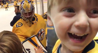Young Preds Fan Celebrates Pekka Rinne High Five