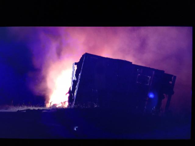 Fiery crash shuts down I-40 westbound overnight
