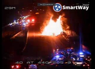 Fiery Tanker Truck Crash Shuts Down Interstate
