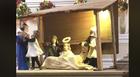 Nativity scene sheep steals baby Jesus