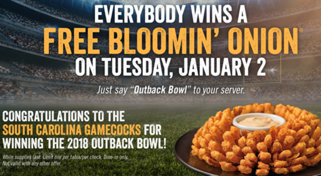 How to score your free Bloomin' Onion, courtesy of the Gamecocks' win