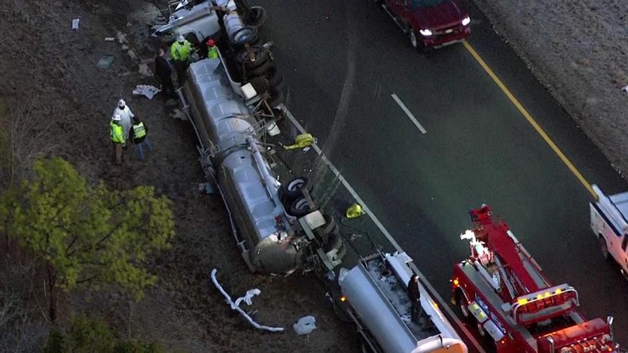 hazmat crews respond to tanker crash on i-24