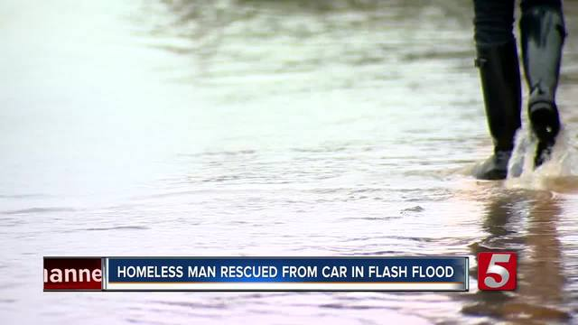 Homeless Man Rescued From Car During Flooding In Lebanon
