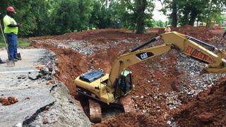 Crews Work To Repair Clarksville Sinkhole