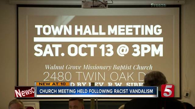 Church Targeted With Racist Vandalism Holds Community Meeting