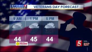 Showers for Veterans Day events today
