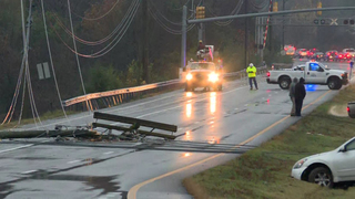 Downed power lines snarl traffic in Hermitage