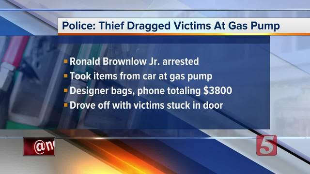 Gas pump thief drags victims with car