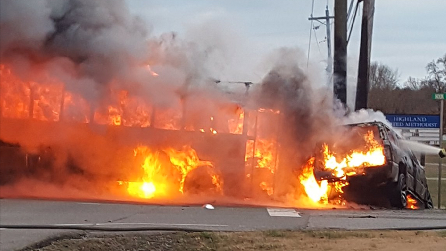 School Bus Involved In Fiery Crash In Lincoln County No